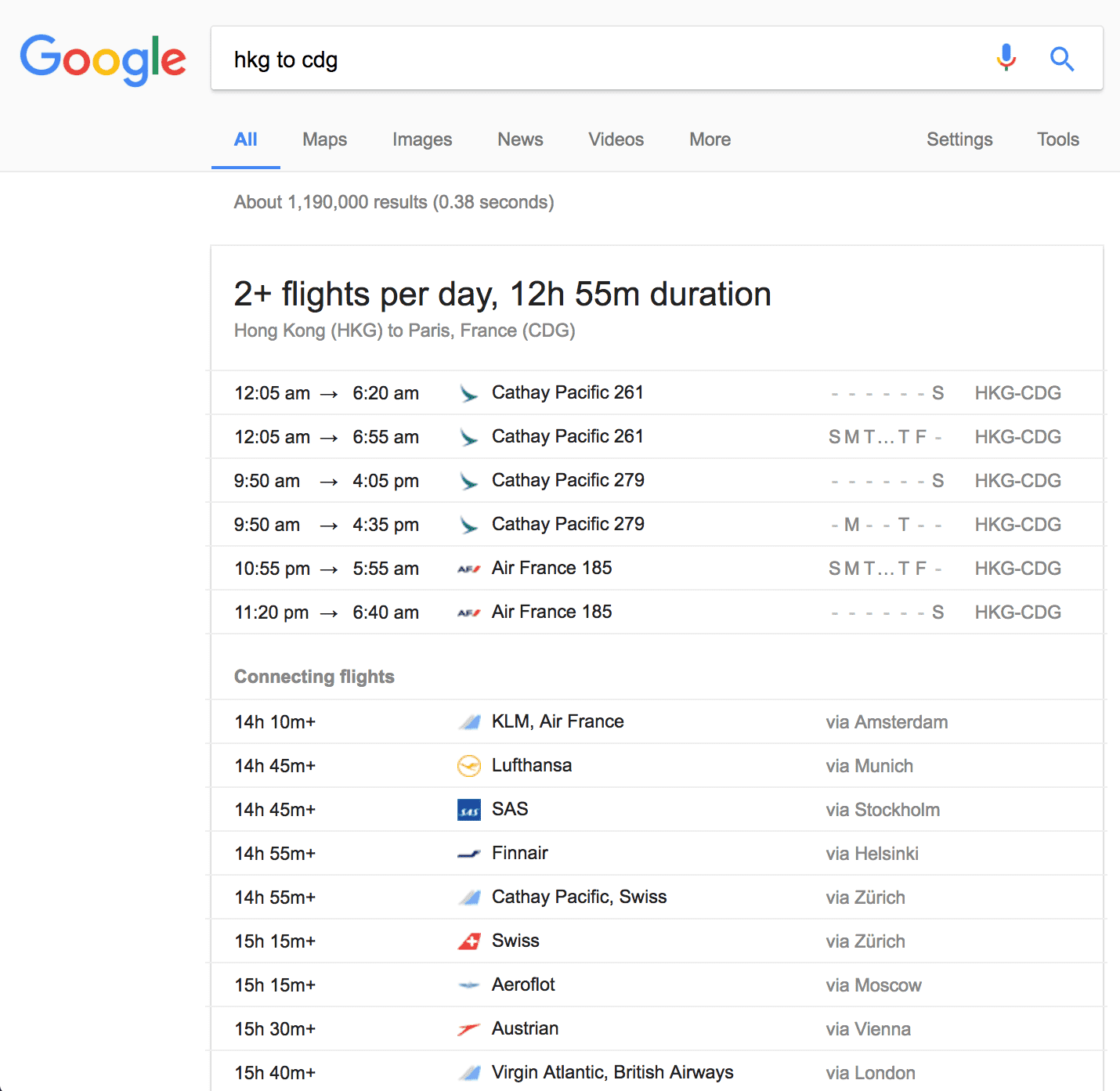 Google flights directly