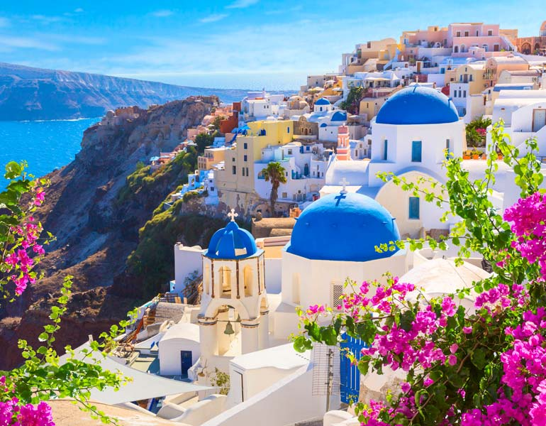 White and blue buildings of Cyclades, Greece
