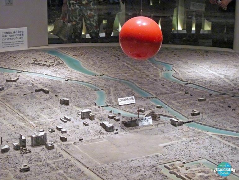 Model of where the atomic bomb detonated over Hiroshima