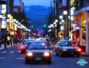 Taxis on Sanjo-dori, Kyoto