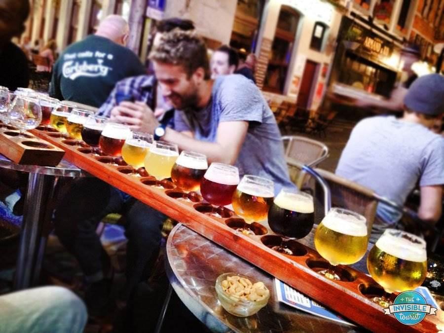 Sampling Belgian beer with locals