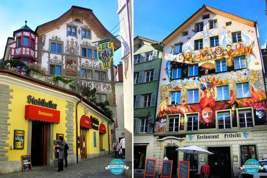 Painted façades in Lucerne's Old Town