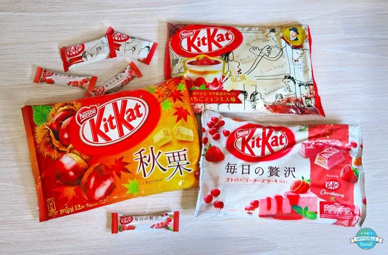 Chestnut, Strawberry Tiramisu and Strawberry Cheesecake Kit Kat are just some flavours found in Japan