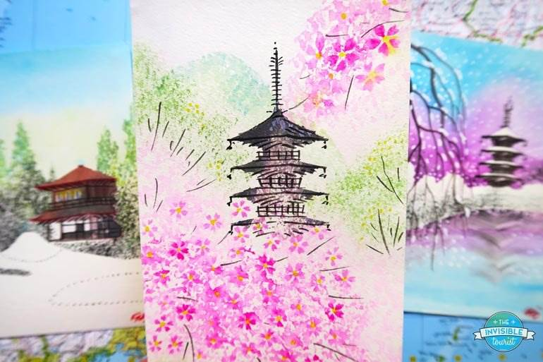 Watercolour paintings by a local artist along the Philosopher's Path, Kyoto