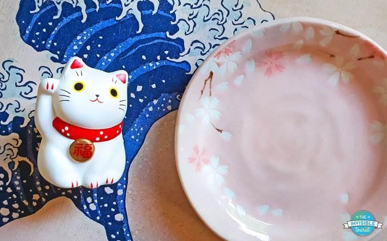 Maneki Neko & Sakura Ceramic Dish from Japan