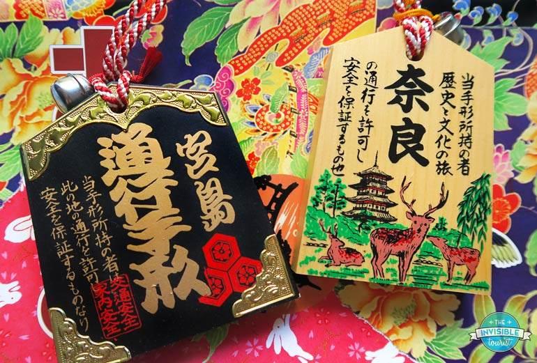 Tsuko-tegata (wooden passports) from Miyajima Island (left) and Nara (right)