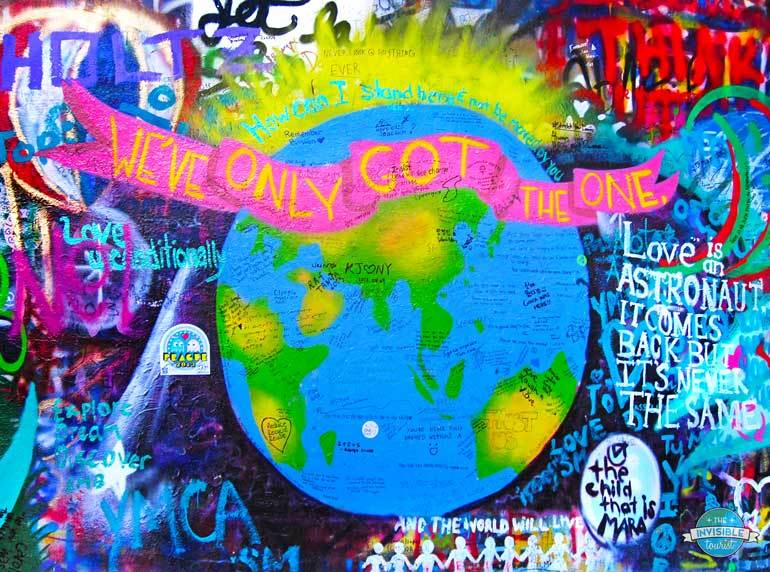 The ever-changing surface of the John Lennon Wall