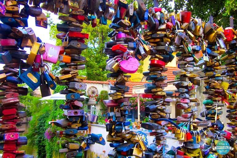 Love locks near the John Lennon Wall