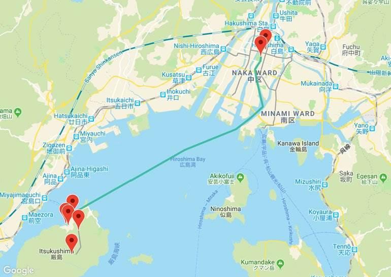 Hiroshima to Miyajima Map