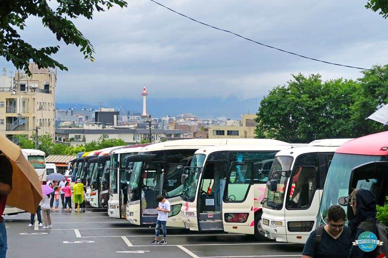 Tourist buses in Kyoto, Japan