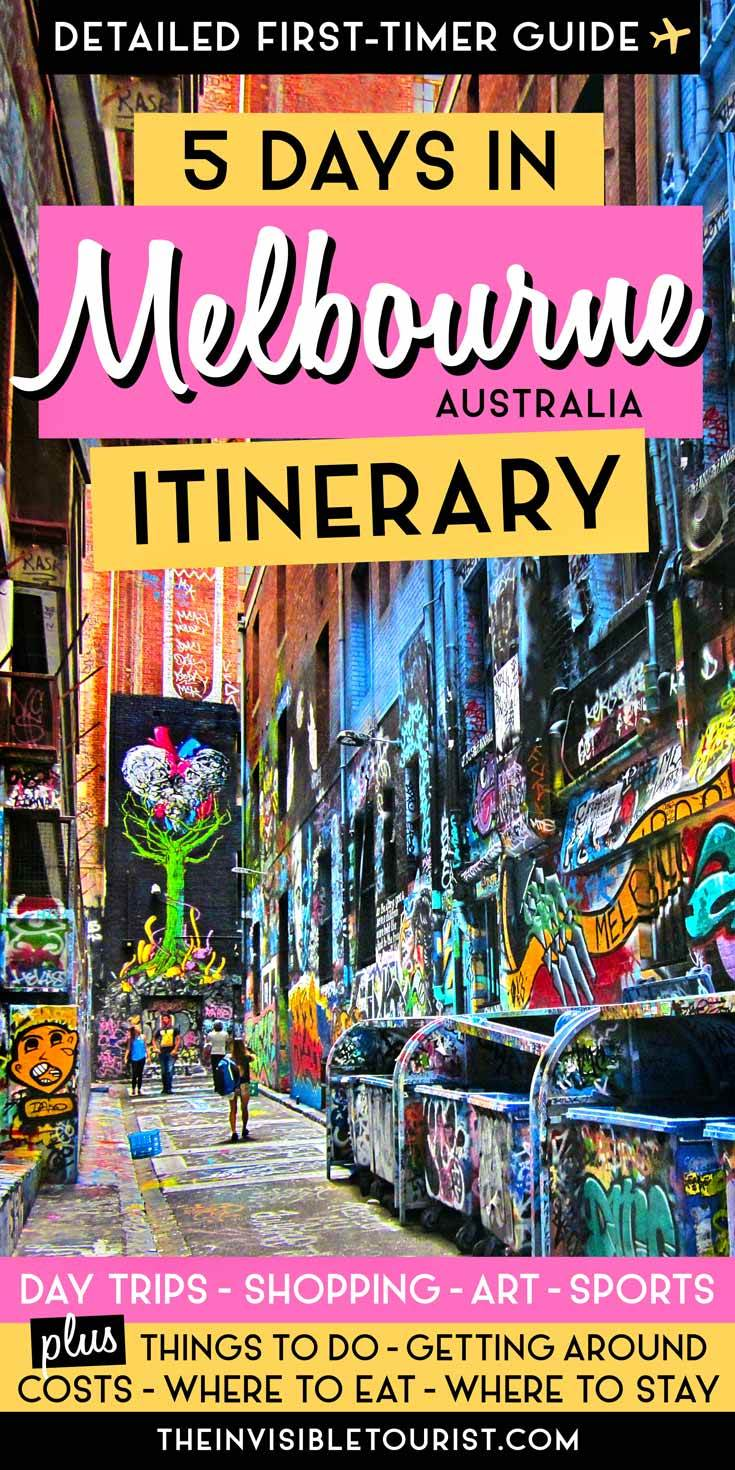 Wondering how to spend 5 days in Melbourne? As a frequent visitor to Australia's capital of culture, my Melbourne itinerary has you covered! Discover the best things to do in Melbourne, where to go shopping in Melbourne, street art, where to eat, where to stay, day trips, travel tips and more! | The Invisible Tourist #melbourne #itinerary #australia #shopping #food #streetart #daytrips #travel #placestosee #likealocal #invisibletourism