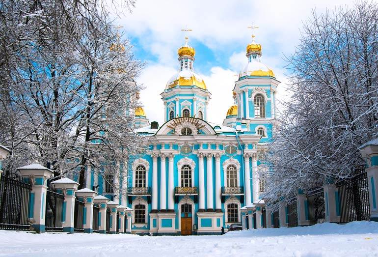 St. Nicholas Naval Cathedral in winter, St. Petersburg, Russia