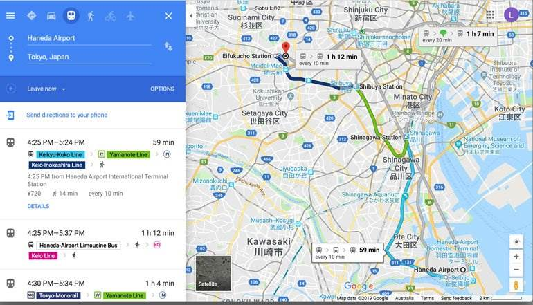 how to use google maps to plan a trip to japan