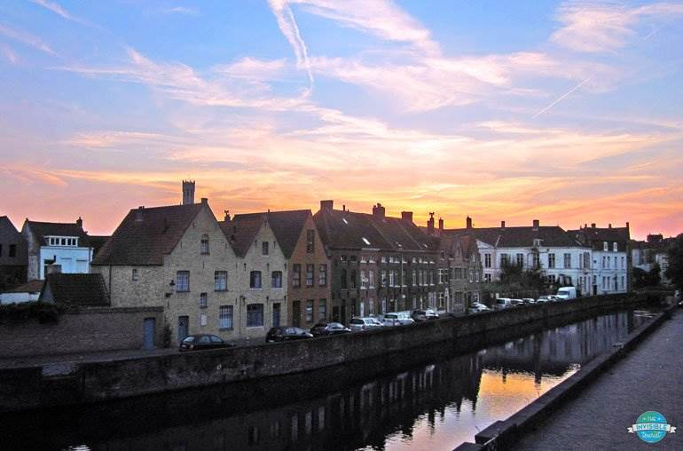 Sunset along a canal in Bruges, Belgium