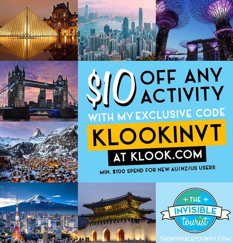 Code promotionnel Klook / Code de réduction Klook   Le touriste invisible