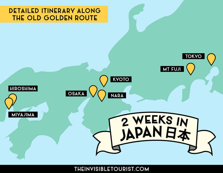 2 Weeks in Japan Itinerary Map: Japan Trip Planner Map   The Invisible Tourist