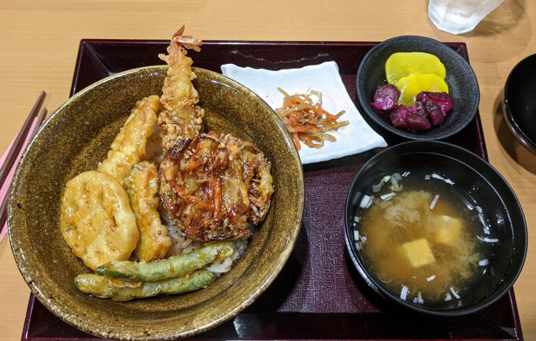 Tempura Vegetables and Miso for Lunch